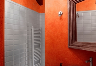 Attic and orange bathroom